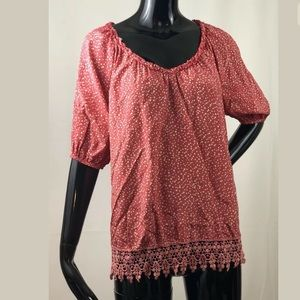 Sundance Coral Polka Dot Silk Blend Top Sz Small